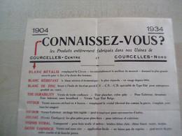 Prospectus Ancien 1934 EMILE GOMEZ COURCELLES CENTRE (couleurs En Poudre) - 1900 – 1949