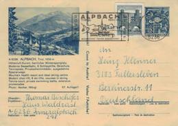 Ganzsache Bildpostkarte 6236 Alpach Tirol  > Fallersleben - Klagenfurt Lindwurm Zufrankierung 1972 - Interi Postali