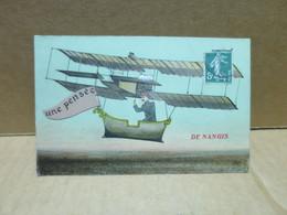NANGIS (77) Carte Fantaisie Aviation Pensée De - Nangis