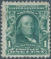 United States,U.S.A,1902 -1903 American Famous People,Portrait Of Benjamin Franklin,1C Bluish Green,Unused - Mint - Unused Stamps