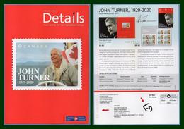 Canada Post Ottawa Postage Paid / Port Payé John Turner > France Entier Postal Stationery 2021 (15X21cm) - Modern Cards