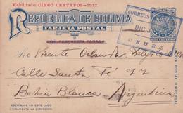 ECRIT EN ESPERANTO. BOLIVIA ENTIER, CARTE POSTALE. CIRCULEE ANNEE 1926. ORURO A BAHIA BLANCA, ARGENTINA.- LILHU - Esperanto