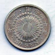 JAPAN, 50 Sen, Silver, Year 40 (1907), KM #31 - Japan