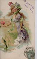 Belle Illustrée Gaufrée: Jolie Femme Victorienne  Au Petit Bouquet - Frauen