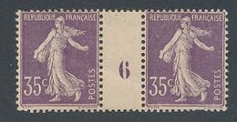ED-135: FRANCE: Lot Avec N°136** Mill 6 (pli Visible Au Verso, 2 Dents Faibles) - Millésimes