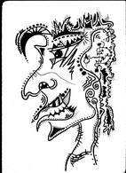 Tableau Dessin Diable Satan Démon Asmodée Exorcisme Satanisme Outsider Art Brut Peculiar Art Singulier Tatoo Tribal - Dessins