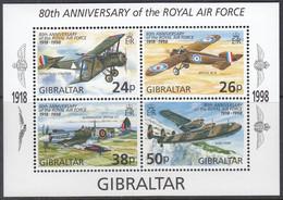 GIBRALTAR, Block 33, Postfrisch **, 80 Jahre Royal Air Force (RAF): Flugzeuge, 1998 - Gibraltar