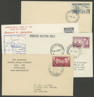 ANTARCTICA: 4 Covers Mailed From Antarctic Stations Of New Zealand, Belgium And Australia Between 1962 And 1964, VF Qual - Sin Clasificación
