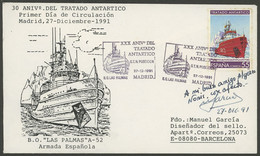 ANTARCTICA: Cover Of 27/DE/1991 With Spanish Stamp And First Day Postmark Commemorating 30th Anniversary Of The Antarcti - Sin Clasificación