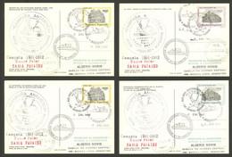 ARGENTINE ANTARCTICA: Antarctic Campaign Of Polar Ship BAHÍA PARAÍSO, Used Postal Cards GJ.98/101 With Special Marks Of  - Sin Clasificación