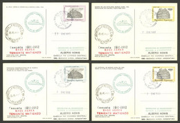ARGENTINE ANTARCTICA: MATIENZO Antarctic Station, Used Postal Cards GJ.98/101 With Special Marks And Datestamp Of The St - Sin Clasificación