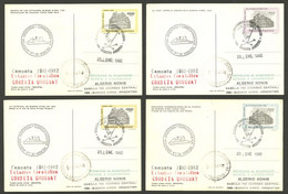 ARGENTINE ANTARCTICA: CORBETA URUGUAY Antarctic Station, Used Postal Cards GJ.98/101 With Special Marks And Datestamp Of - Sin Clasificación