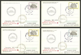 ARGENTINE ANTARCTICA: GRAL. BELGRANO II Antarctic Station, Used Postal Cards GJ.98/101 With Special Marks And Datestamp  - Sin Clasificación