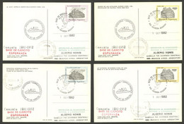 ARGENTINE ANTARCTICA: ESPERANZA Antarctic Station, Used Postal Cards GJ.98/101 With Special Marks And Datestamp Of The S - Sin Clasificación