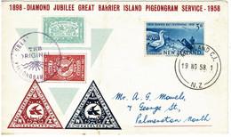 New Zealand 1958 Great Barrier Island Pigeongram Service Diamond Jubilee Souvenir Cover - Covers & Documents