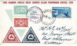 New Zealand 1958 Great Barrier Island Pigeongram Service Diamond Jubilee Souvenir Cover - See Notes - Covers & Documents