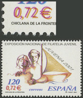 """SPAIN: VARIETY: Stamp Issued In 2001 """"Youth Stamp Exhibition"""" With Variety DOUBLE IMPRESSION OF VALUE IN EUROS, Excellen - Non Classés"""