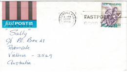 New Zealand 1990 Christmas $1 Angel On Air Mail Letter To Australia - Covers & Documents