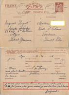GUERRE 39-45 CARTE INTERZONE IRIS Envoi Raymond SERGENT 24 R.A.D. 6me BATTERIE AGEN LOT ET GARONNE Le 10-4-1941 - WW II