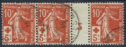FRANCE  - YT 147  -  Bande De 3 Millésime 5 Oblitéré - (Cote De La Paire 200€) Départ 10% - Millesimes