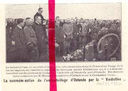 Orig. Knipsel Coupure Tijdschrift Magazine - Ostende Oostende - Commémoration Le Vindictive - 1920 - Non Classés