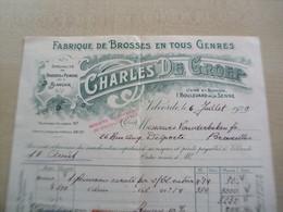 Facture Ancienne    1929 CHARLES DE GROEF VILVORDE Fabrique De Brosses En Tous Genres - 1900 – 1949