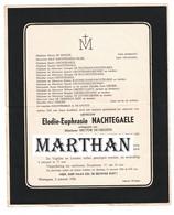 DOODSBRIEF NACHTEGAELE ELODIE ECHTGENOTE DE GROOTE WORTEGEM 1881 - 1956 - Todesanzeige