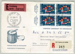 Schweiz / Helvetia 1966, Eingeschriebener Expressbrief CERN Genève - Lyss, Atom / Nucleaire - Fisica