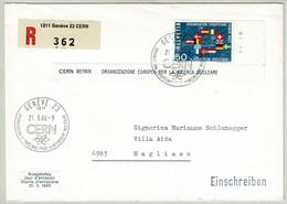 Schweiz / Helvetia 1966, Eingeschriebener Brief CERN Genève - Magliaso, Atom / Nucleaire, Bogenrandecke - Fisica