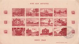 ERINOPHILIE - AIDE AUX ARTISTES - BLOC FEUILLET DE 12 VIGNETTES NON DENTELES - 1942 - Blocs & Carnets