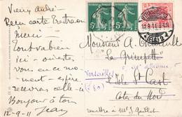 Affranchissement Mixte 1911 Semeuse + Timbre Reich Strasbourg Strassburg Cachet Convoyeur Ambulant St Cast à Plancoet - Alsace-Lorraine