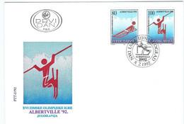 Yugoslavia FDC 1992 Olympic Winter Games - Albertville, France - Invierno 1992: Albertville
