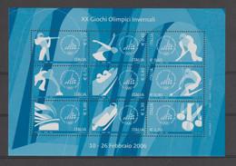 REPUBBLICA:  2006  GIOCHI  OLIMPICI  INVERNALI  BL/FGL. -   9  VAL. POLICROMO  N. -  SASS. 45 - Blocchi & Foglietti