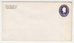 Bryant Pollard, Proctorsville VT Company Postal Stationery Letter Cover U534 Unused B211001 - 1941-60