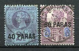 LEVANT ANGLAIS - 1887  Yv.  N° 5,6  (o)  40pa, 80pa  Cote 1,75 Euro  BE  2 Scans - British Levant