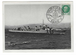 64 SM - SALON DE LA MARINE 1944 - CONTRE-TORPILLEUR LE KERSAINT - Cachet à Date 3 Juin 1944 (2 SCAN) - Posta Marittima