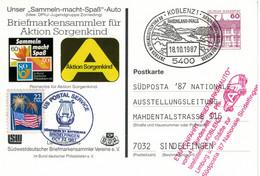 Ganzsache - Schloss Rheydt - Koblenz 1987 Rheinland Pfalz * Briefmarkenauto USPS > Sindelfingen - Privatpostkarten - Gebraucht
