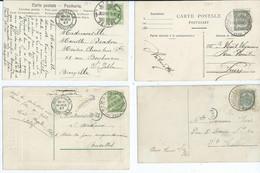 4 Kaarten Met Brugstempels - 1893-1907 Coat Of Arms