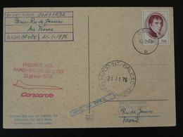 Carte Postcard Premier Vol Concorde First Flight Oslo --> Rio Brazil Via Paris Air France 1976 Ref 100169 - Covers & Documents