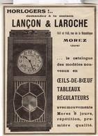 RARE PUB SUR PAPIER - 1907 - LANCON & LAROCHE - HORLOGE - MOREZ - JURA- VINTAGE - Orologi Da Muro