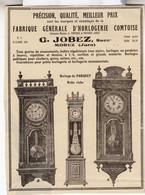 RARE PUB SUR PAPIER - 1907 - FABRIQUE GENERALE D'HORLOGES COMTOISE - G. JOBEZ - MOREZ - JURA -  VINTAGE - Orologi Da Muro