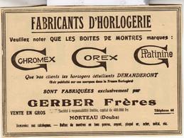 RARE PUB SUR PAPIER - 1907 - FABRICANTS D'HORLOGERIE - GERBER FRERES - MORTEAU - DOUBS -  VINTAGE - Orologi Da Muro