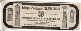 RARE PUB SUR PAPIER - 1907 - FABRIQUE D'HORLOGERIE FURTWAEENGLER - PARIS -  VINTAGE - Orologi Da Muro