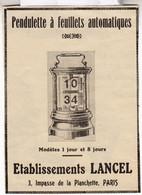 RARE PUB SUR PAPIER - 1907 - PENDULETTE A FEUILLETS AUTOMATIQUES - LANCEL - PARIS -  VINTAGE - Orologi Da Muro