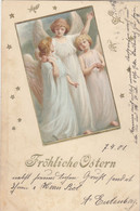 A205) Fröhliche OSTERN - ENGEL Tolle Präge AK CÖLN 7.4.1901 !! - Pasen