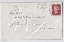 Llandilo Wales Red One Penny QV GB Stamp On Front Mail Cover 1868 - Covers & Documents