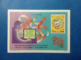 1998 ITALIA REPUBBLICA FOGLIETTO NUOVO SHEET NEW MNH** LA POSTA ESPOSIZIONE MONDIALE FILATELIA - Blocchi & Foglietti
