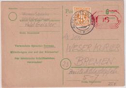 All.Bes./Notausgabe - 6/6 Pfg. Ganzsache Oldenburg+ Zusatz N. Bremen 3.4.46 - Unclassified