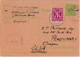 All.Bes./BZ - 5 Pfg. AM-Post Ganzsache+Zusatz N. USA Hildesheim - Portland 1946 - Unclassified