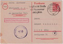 All.Bes. - 30 Pfg. Arbeiter Ganzsache N. ÖSTERREICH Stuttgart - Wien 1948 Zensur - Unclassified